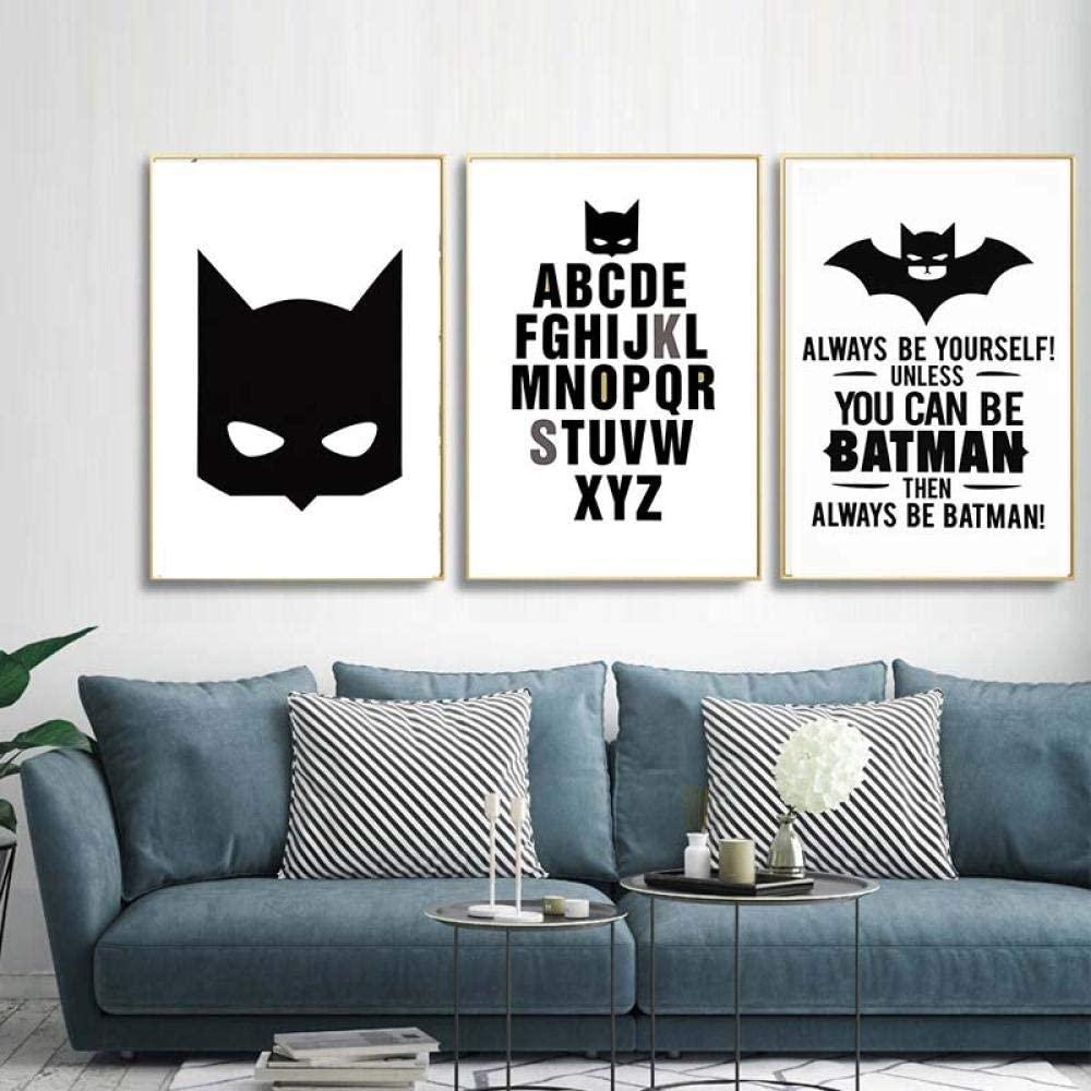 MGSHN Superhero Batman Canvas Painting Art Print Poster Always Be Yourself Cartoon Kids Rooms Wall Picture Home Decor-40x50cmx3 No Frame