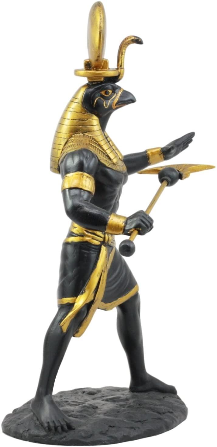 Ebros Egyptian Mythology God Horus Ra with Sun and Uraeus Disc Statue Deity of War & Sky Figurine 11