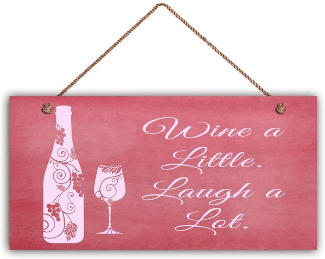 MAIYUAN Wine A Little Laugh A Lot, Pink Chalkboard Style, 10x5 Sign, Wine Bottle and Glass Plaque, Funny Sign(JG1112)