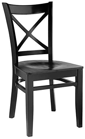Beechwood Mountain Cross Back Side Chair in Black with Wood Seat (Set of 2)
