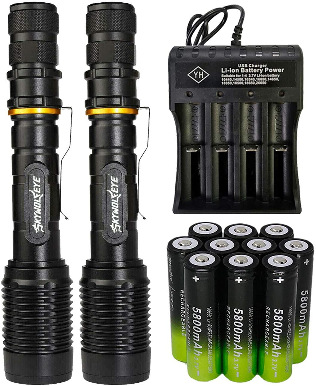 2 Packs High 2000 Lumens 18650 Tactical LED Flashlight Torch with 10PCS 3.7v High Capacity Rechargeable Battery&1PCS 4 Slots Charger, Bright Adjustable Focus and 5 Modes for Camping Hiking