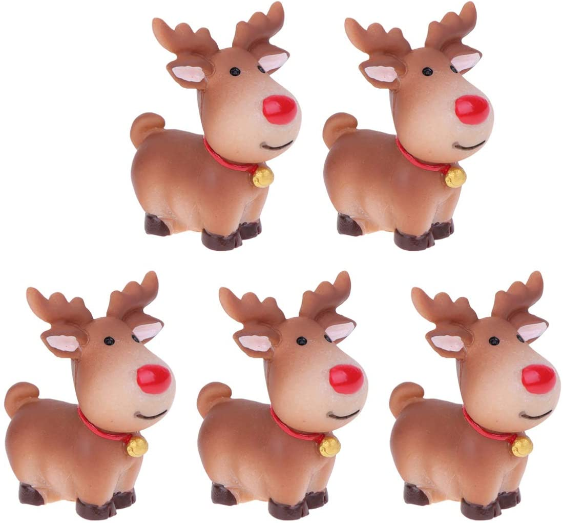 Cabilock 5 Pcs Mini Reindeer Statue Cartoon Antler Deer Elk Pattern Figurine Animal Cake Topper Desktop Decorative Ornaments for Children Kids Style 1