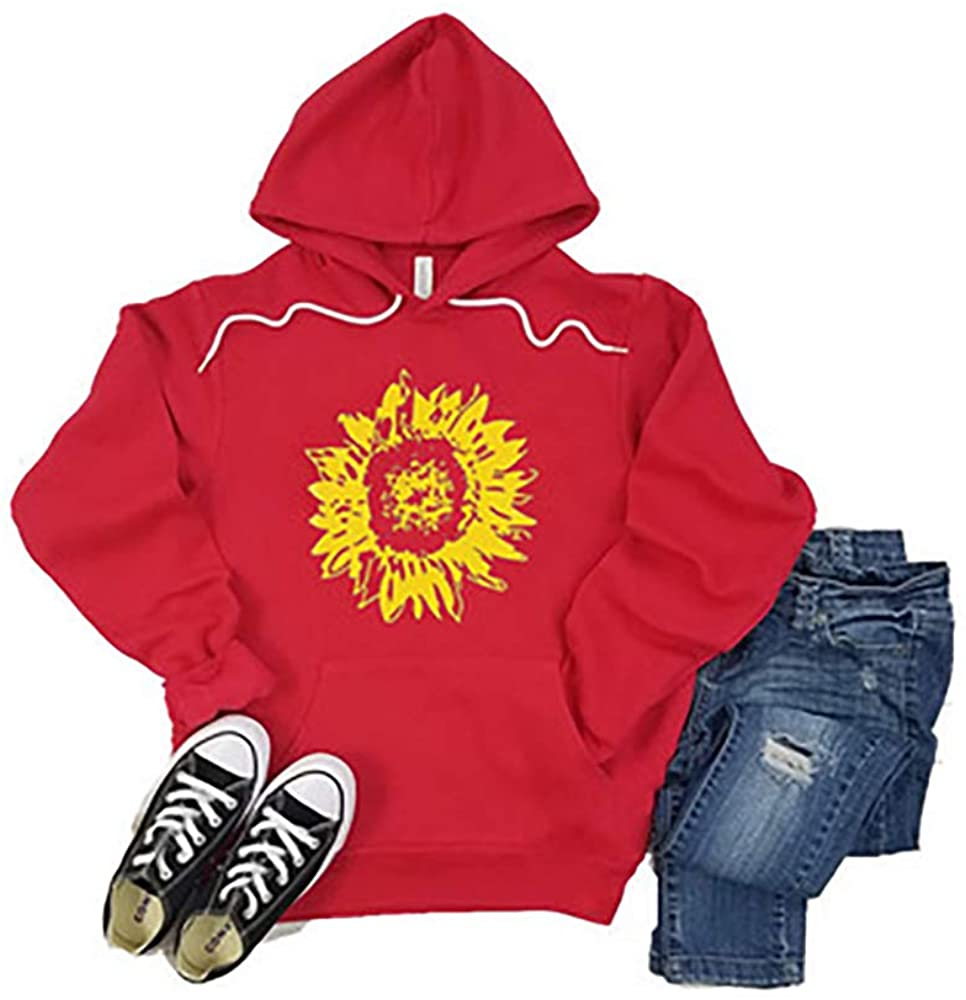 Women Hoodies Long Sleeve Graphic Pullover Tops with Pocket Teen Girls Sunflower Floral Sweatshirts XS-XXL