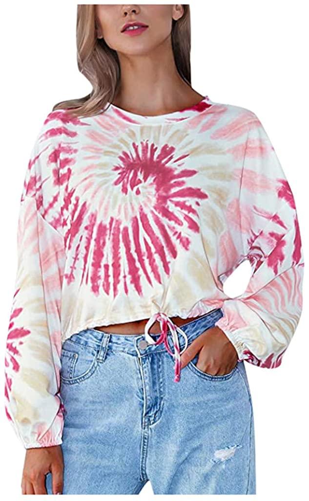 Liuxuelifg3 Tie Dye Sweatshirt,Women's Casual Tie Dye Crewneck Sweatshirt Long Sleeve Loose Shirts Casual Tops Blouse