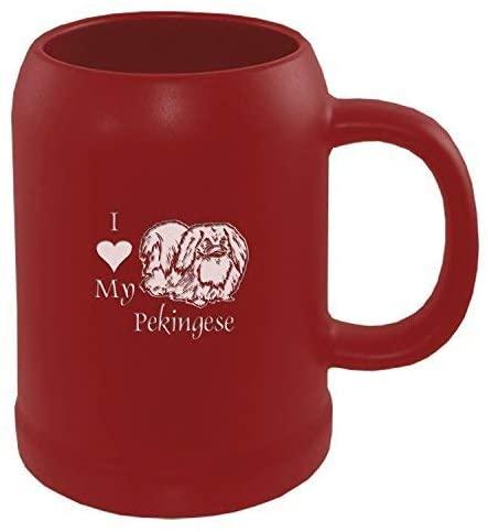 22 oz. Ceramic Stein Coffee Mug-I love my Pekingese-Red