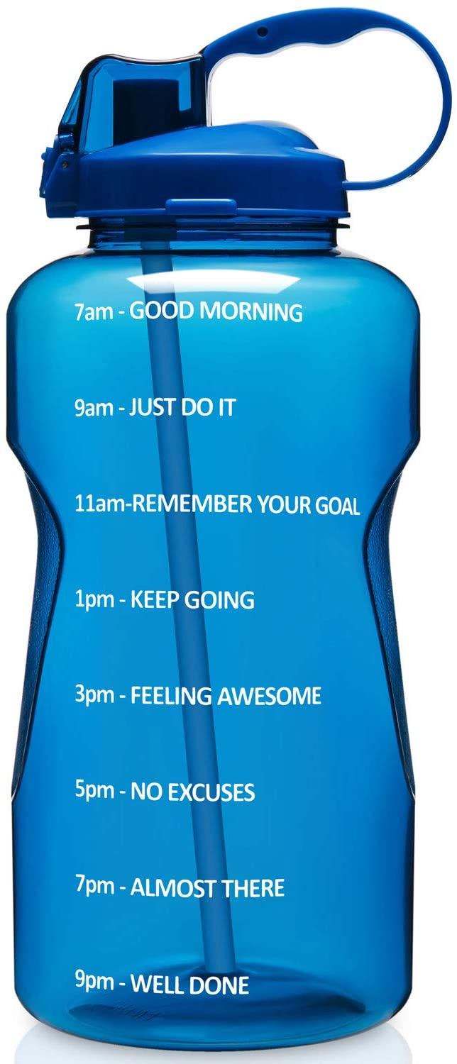 Aserlin Large 1 Gallon/128 OZ (When Full) Motivational Water Bottle with Time Marker & Straw, 100% Leakproof Tritan BPA Free Perfect for Fitness, Gym and Outdoor Sports