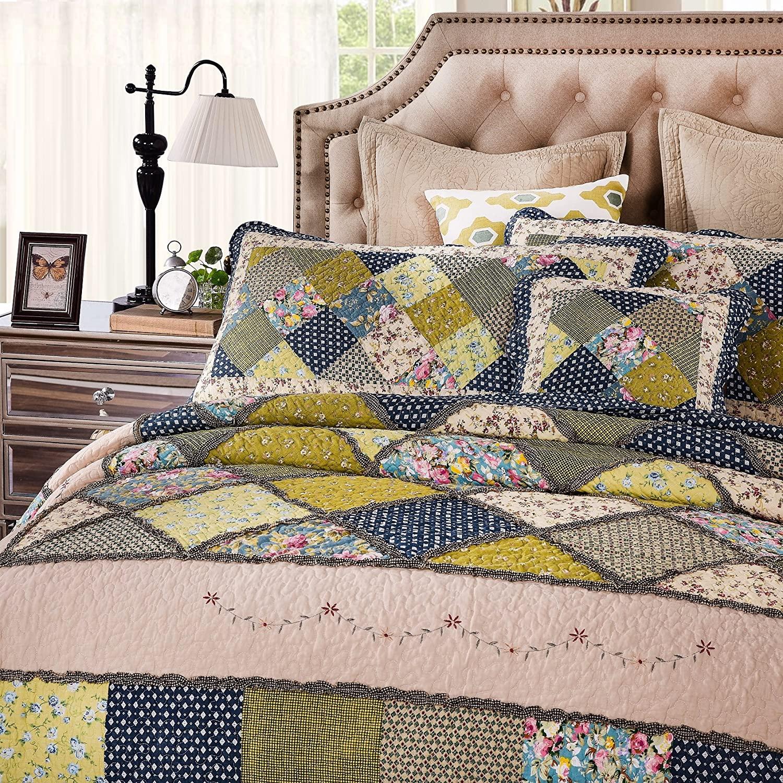 Tache Home Fashion DXJ10077-F 5 Piece Shower Patchwork Quilt Bedspread Set, Full