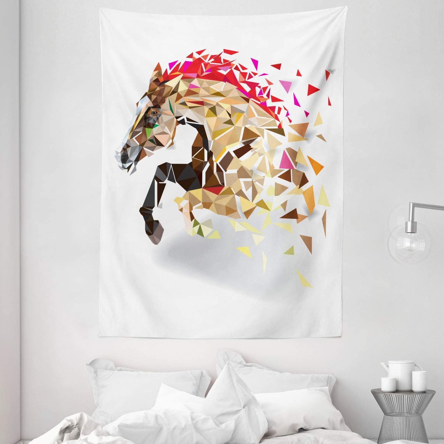 Ambesonne Diamond Tapestry, Disappearing Wild Horse in Digital Polygonal Geometric Modern Design Cubism Art, Wall Hanging for Bedroom Living Room Dorm, 60