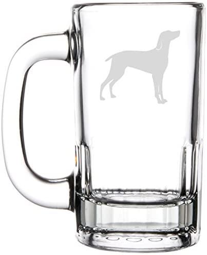12oz Beer Mug Stein Glass Weimaraner