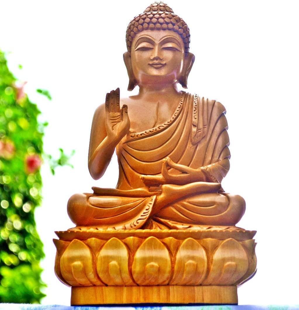 CraftVatika Sale- Hand Carved Wood Buddha Statue - Buddha Decor - Wooden Buddha Sculpture Hand Raised in Blessing Gesture (8 Inches Abhaya)