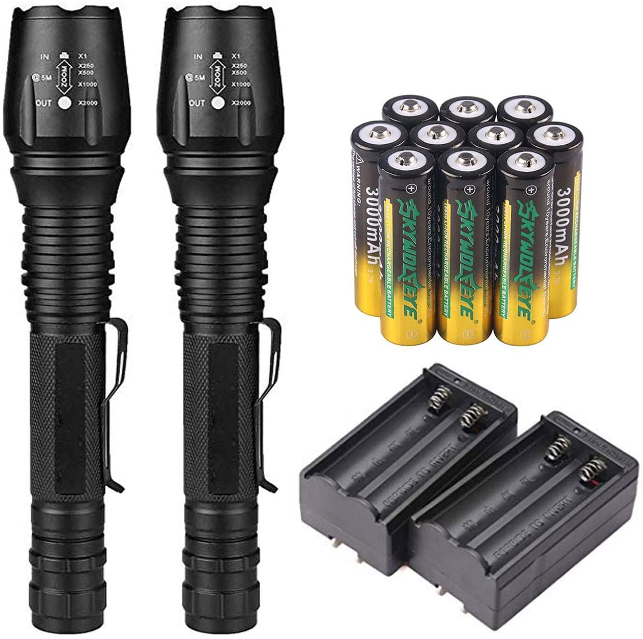 2 Set 18650 Tactical Flashlight 5 Modes 2000 Lumens Rechargeable Zoomable LED Flashlights with 10 Pack 3000mAh 3.7v li-ion rechargeable battery & 2 Pack Dual Smart Charger for Camping Fishing Hiking