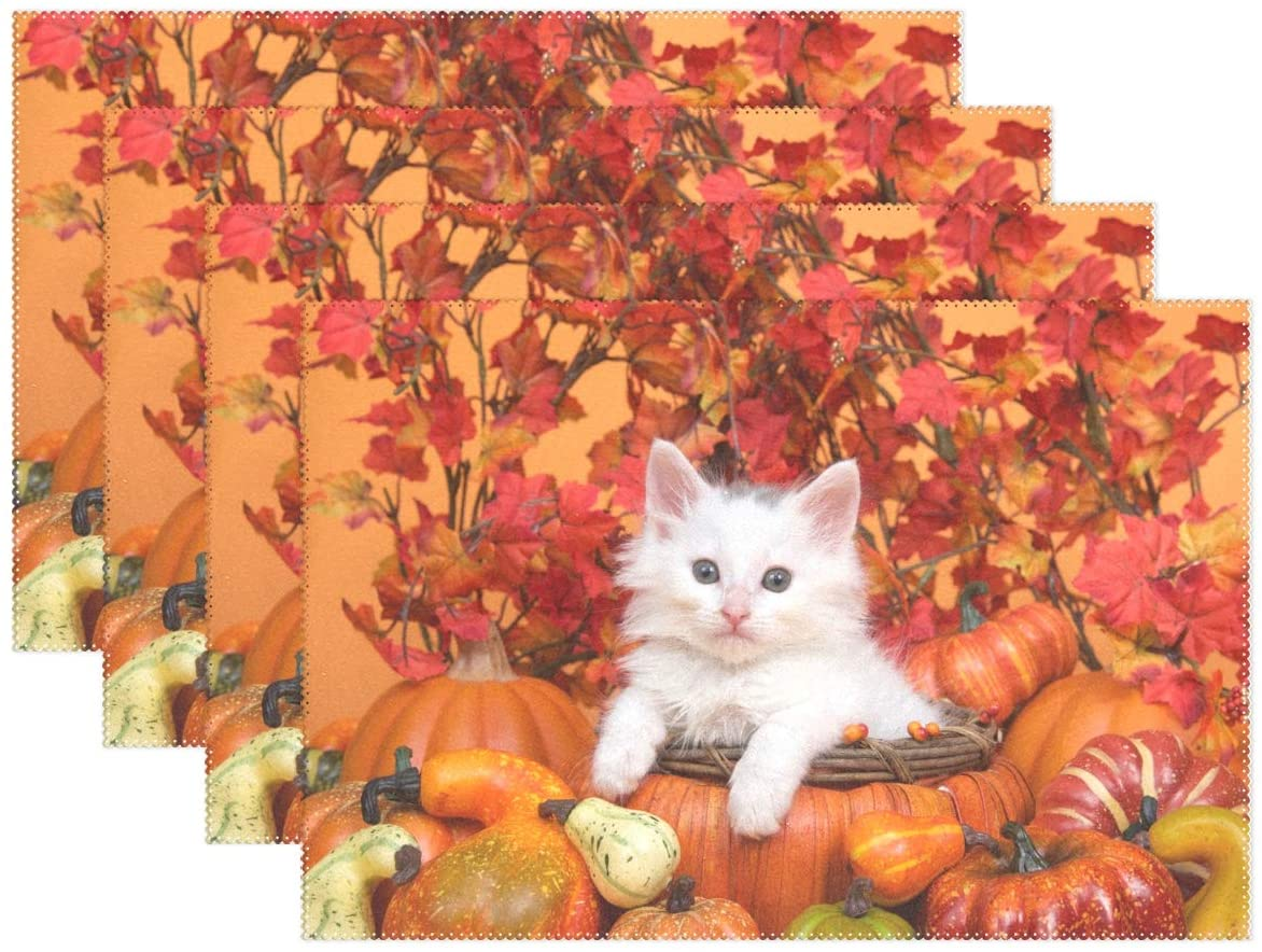 visesunny Thanksgiving Fall Leaf Small White Kitten Laying Orange Pumpkin Shaped Basket Pattern Placemats Dining Table, Heat-Resistant Placemats, Anti-Skid Washable Table Mats, Kitchen Table Mats, Set