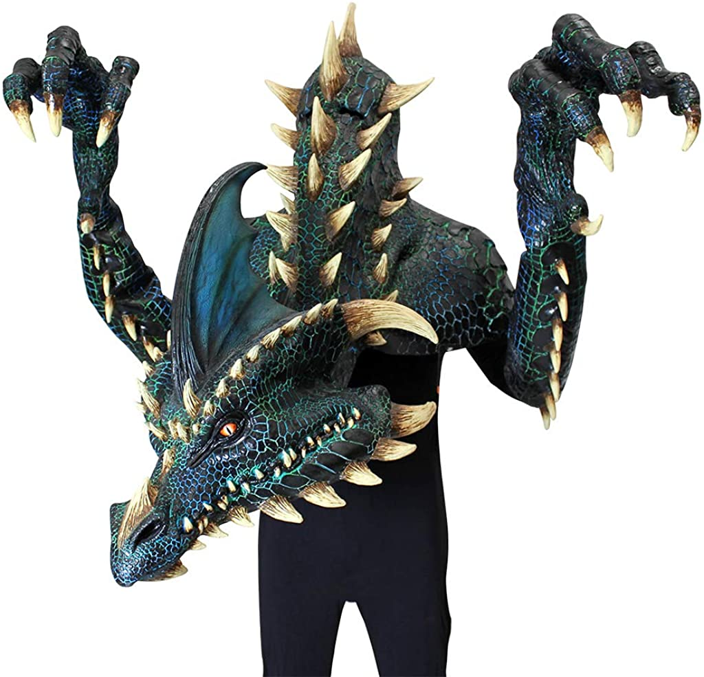Ghoulish Productions, Nightmare Collection Smolder The Black Dragon Halloween Party Adult Costume Latex Mask