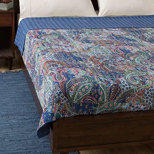 Yuvancrafts Indian Paisley Print Kantha Quilt Twin Cotton Quilt Throw Blanket Bedspread