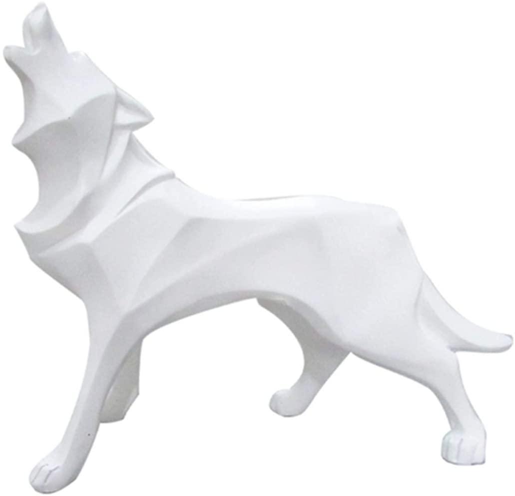 GEPIJPGEKH Abstract Wolf Dog Statue Wildlife Sculpture Modern Geometric Resin Animal Figurines Desktop Ornament Creative Gifts