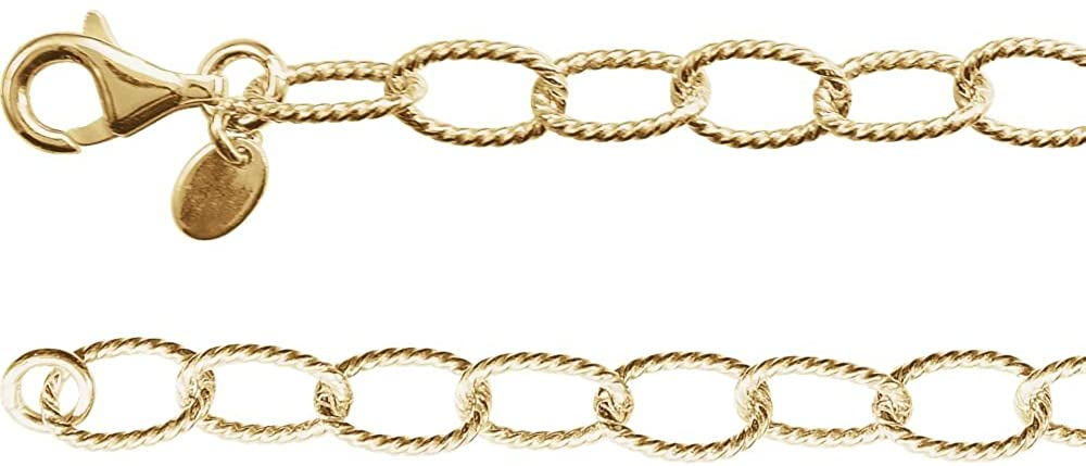 24k 14k Gold Plated Necklace Knurled Cable Chain Jewelry Gifts for Women in Yellow Gold Choice of Lengths 16 18 24 and 4.45mm 6mm 8mm