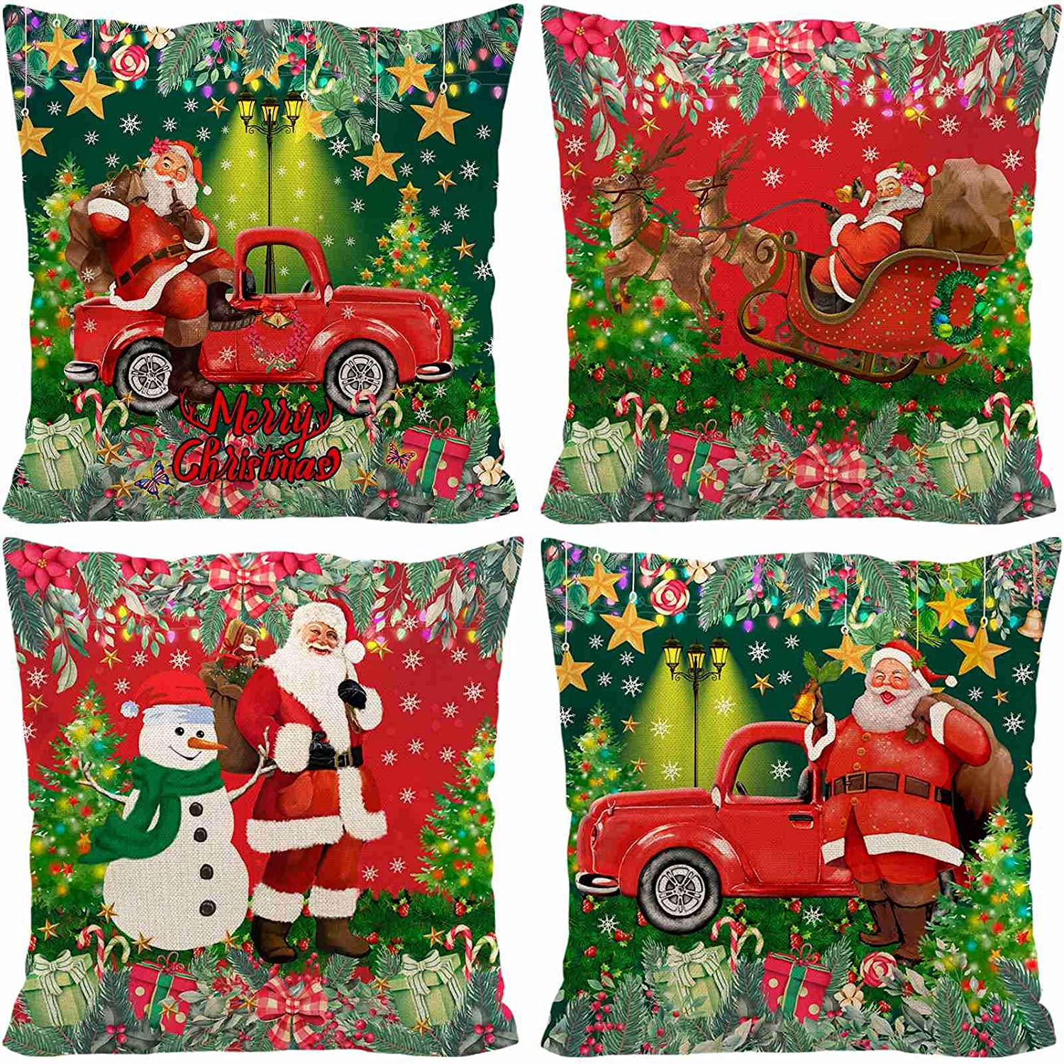 """AOKDEER Christmas Pillow Covers, Red Truck Santa Claus Couch Throw Covers 18""""x18"""", Merry Christmas Snowman Xmas Tree Winter Cotton Linen Pillow Cases Home Decorative for Sofa, Bed Car (Red Green)"""
