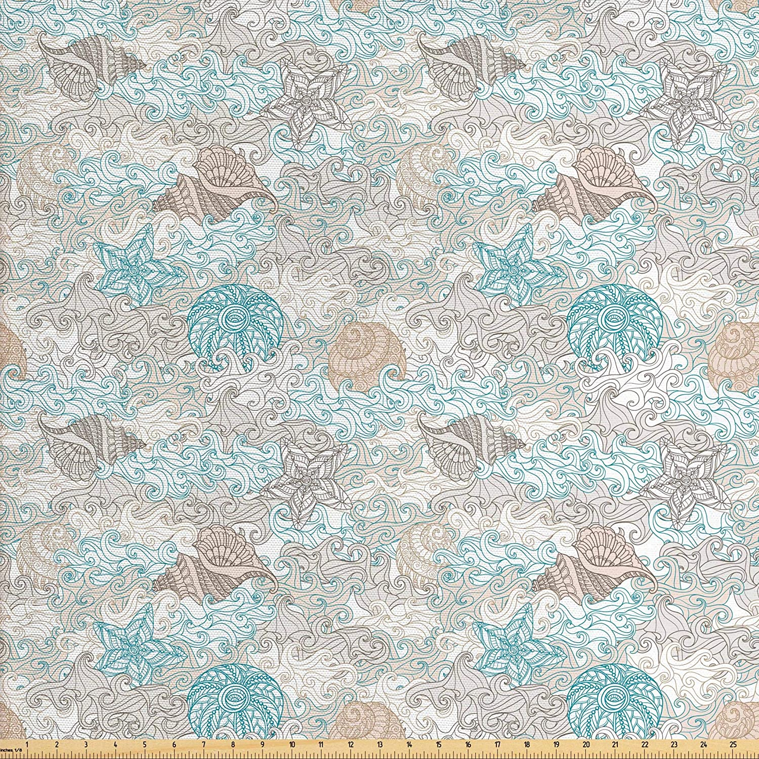 Ambesonne Nautical Fabric by The Yard, Pastel Toned Sea Shell Starfish Mollusk Seahorse Coral Reef Motif Design, Decorative Fabric for Upholstery and Home Accents, 1 Yard, Tan Turquoise