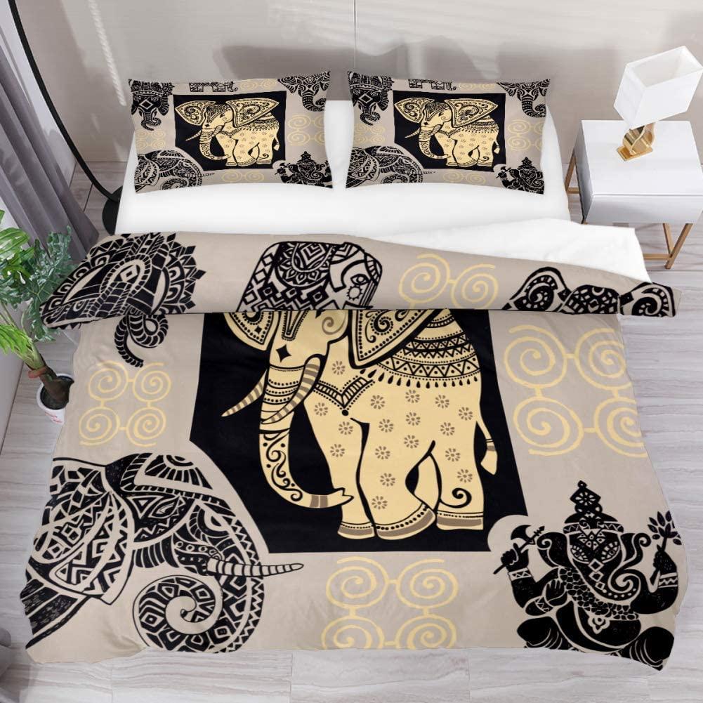 Likai Comforter Set Ancient Elephant Bed Duvet Cover Sheet Set 3 Piece Bedding Set with 2 Pillow Shams Queen Size Not Pilling Fade Wrinkle-Resistant