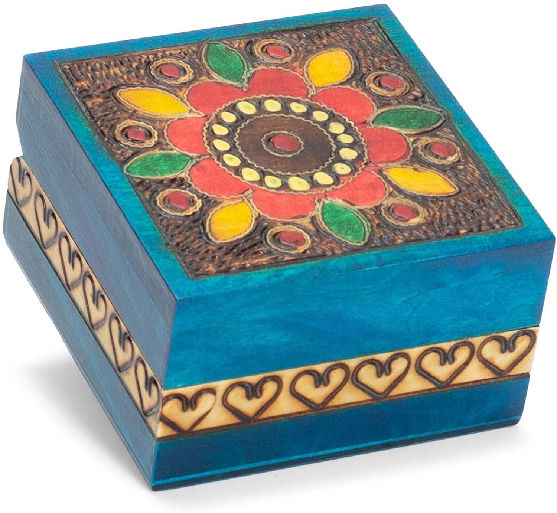 M. Cornell Flower Heart Border Cobalt Blue 3 x 3 Solid Wood Decorative Square Box
