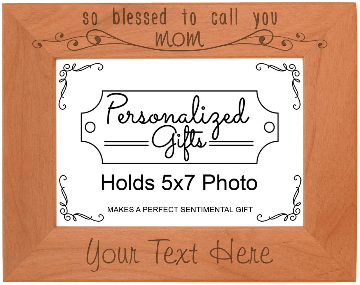 Custom Mom Gifts So Blessed to Call You Mom Personalized Wood Engraved 5x7 Landscape Picture Frame