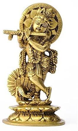 Hindu God Krishna Playing Flute, Fine Brass Figure (15.24 cm, 7.88 cm, 5.72 cm)