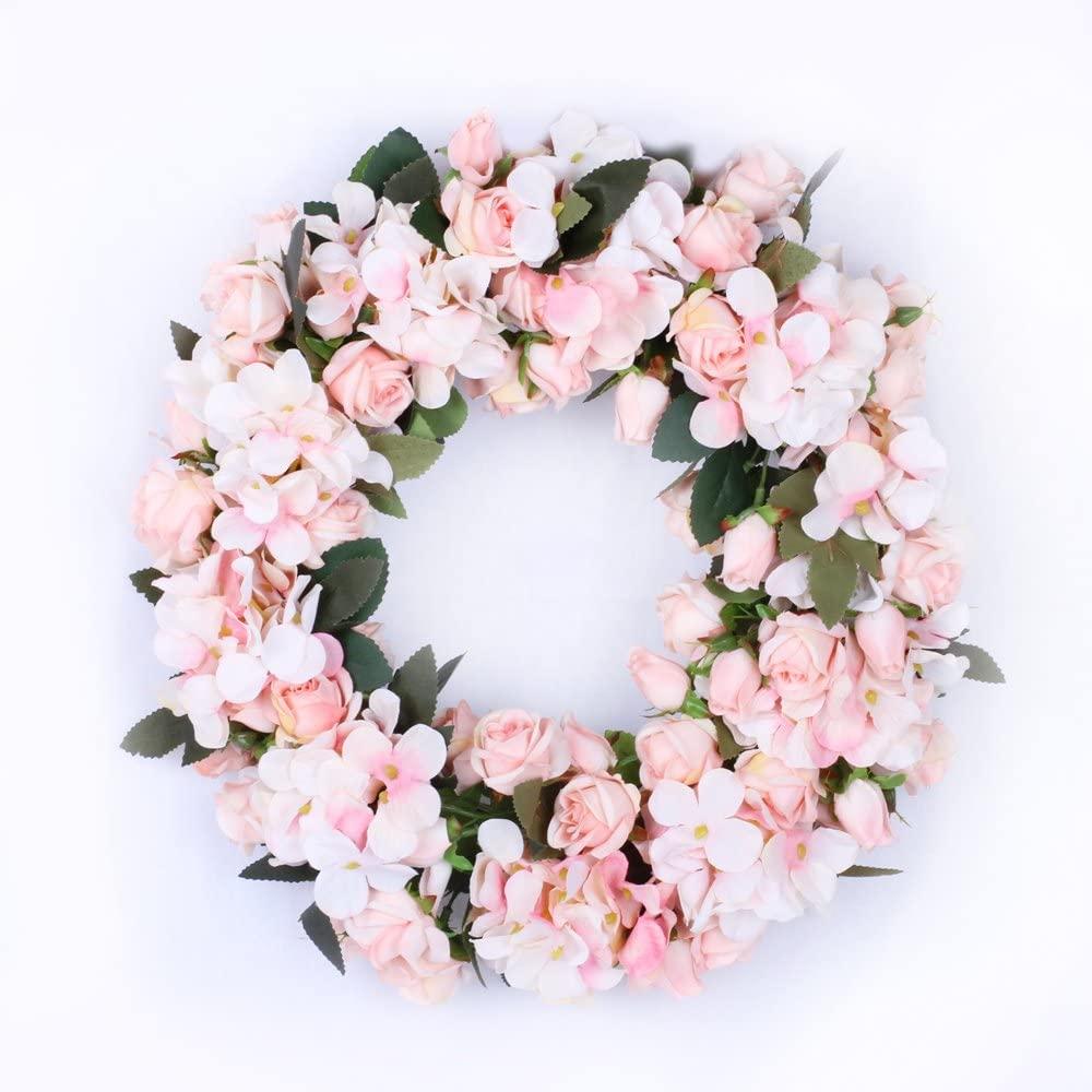 LI HUA CAT Handmade Floral Artificial Flowers Garland Rose Wreath for Home Party Decor (Hydrangea Wreath-Light Pink)