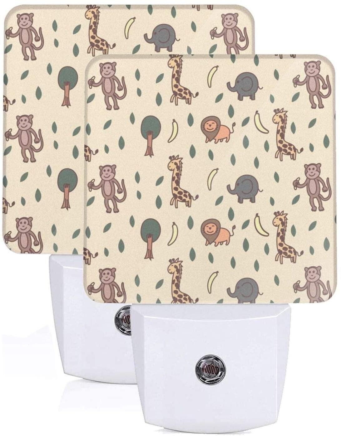 Feihuang Printing Giraffe Lion Elephant Monkey Patterns On Plug-in Led Night Light Warm White Nightlight for Bedroom Bathroom Hallway Stairways(0.5w 2-Pack)
