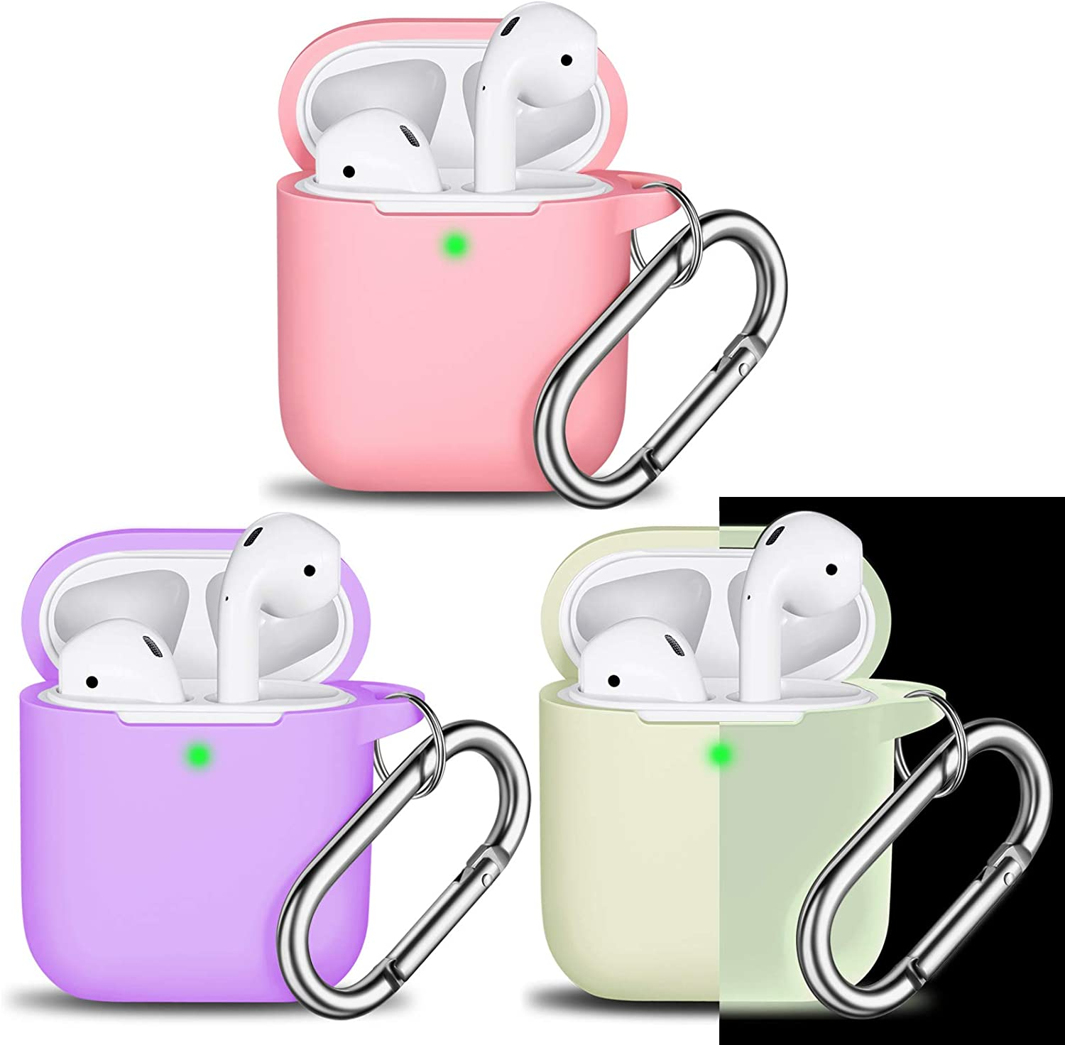 AirPods Case Cover with Keychain, Full Protective Silicone AirPods Accessories Skin Cover for Women Girl with Apple AirPods Wireless Charging Case [Front LED Visible]-Lavender/Pink/Nightglow