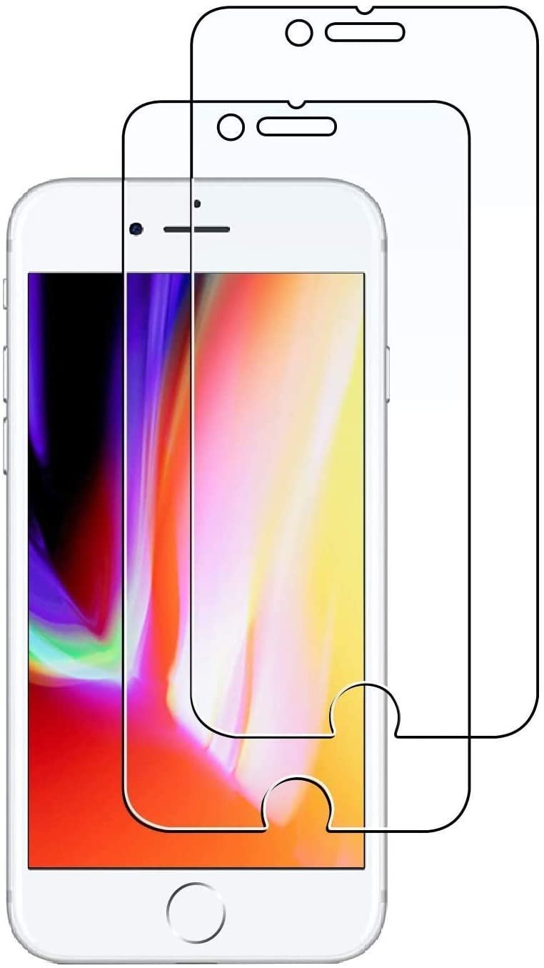 MollyLow Screen Protector for Apple iPhone 8 and iPhone 7, 4.7-Inch, Case Friendly, Tempered Glass Film, 2 Pack Clear