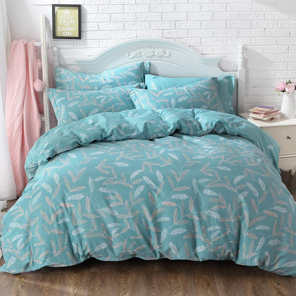 FADFAY Fashionable Teal Floral Farmhouse Bedding 100% Cotton Hypoallergenic Duvet Cover Set with Hidden Zipper Closure Full Size 3-Pieces