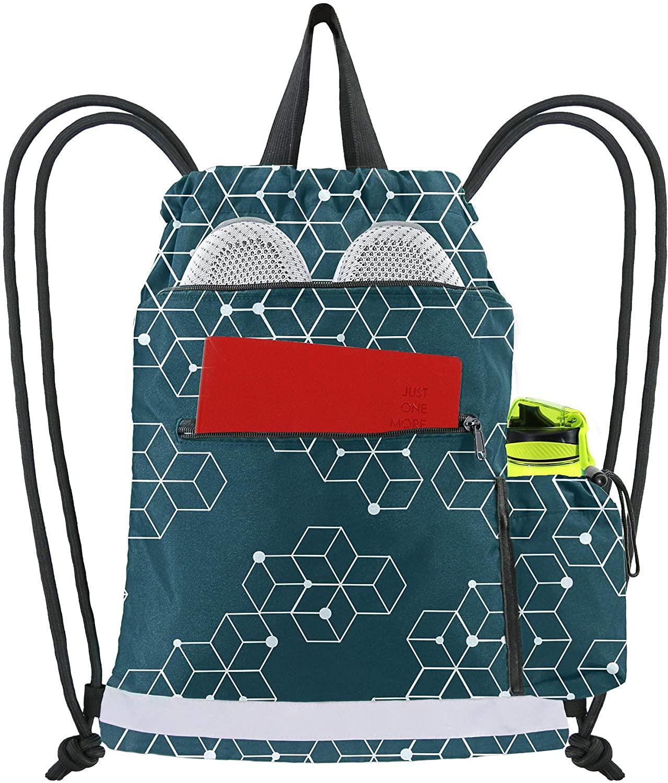 Dark Green Cinch Bag Backpack String Sack w 2 Zipper Front Pockets Gym Sackpack for Men Women w Side Drawstring Pocket Beach Travel Workout Gymnastic Lightweight Sturdy Personalized Geometric Pattern