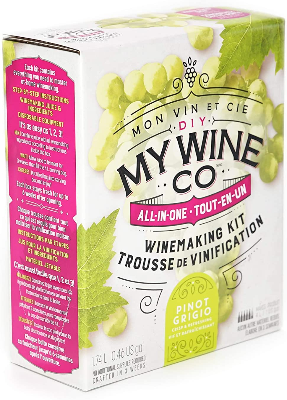 DIY My Wine Co, Premium All-In-One Wine Making Kit, Makes Up to 5 Bottles/4 Litres of Wine, Pinot Grigio, 1.74L