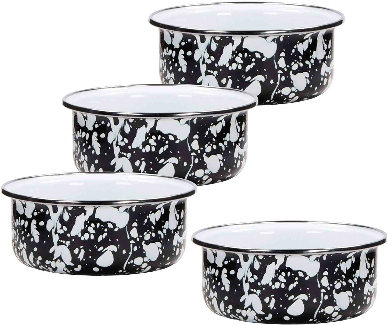 Golden Rabbit Enamelware - Set of 4 - Black Swirl - Soup Bowls