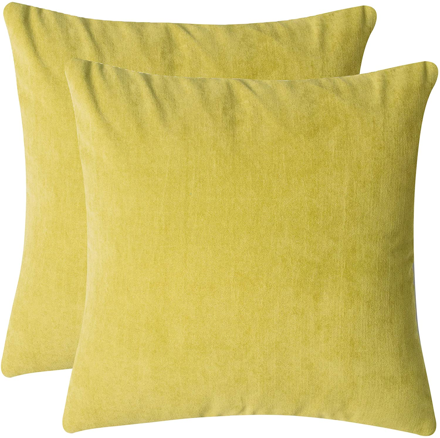 Glory Family Top Finel Decorative Throw Pillow Cases Supersoft Chenille Solid Cushion Covers 18x18 for Sofa Bed,Pack of 2 (Green)