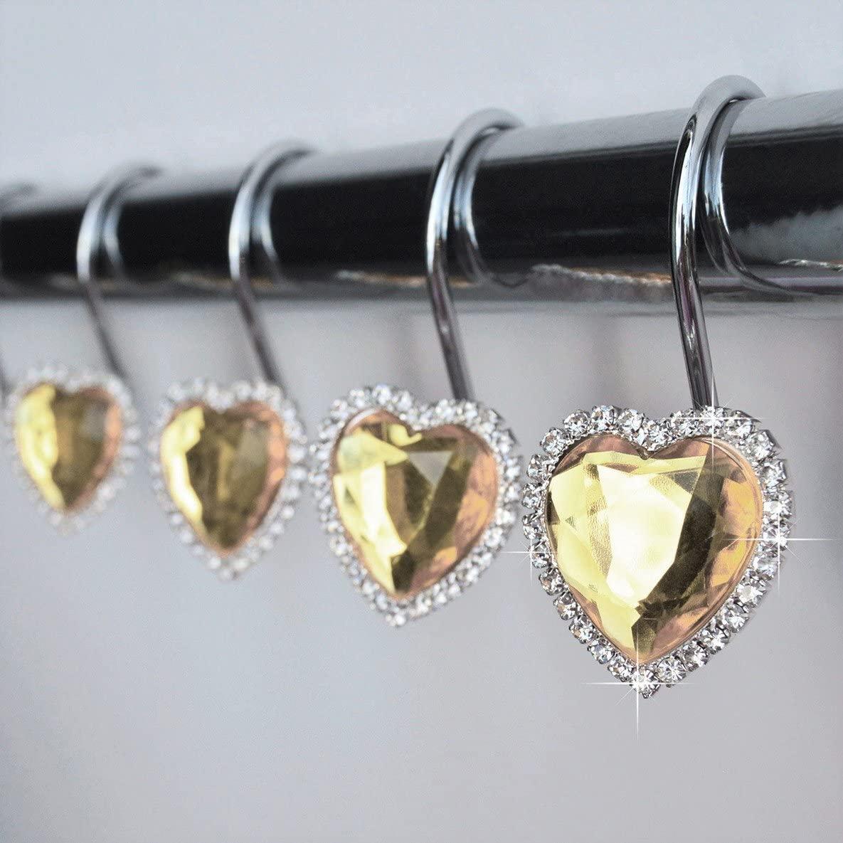 American Cuteness Shower Curtain Hooks Rings - Heart Yellow Champagne Decorative Crystal Diamond Bling Rhinestones Bathroom Bath Set Gift Valentine Girls (Champagne)