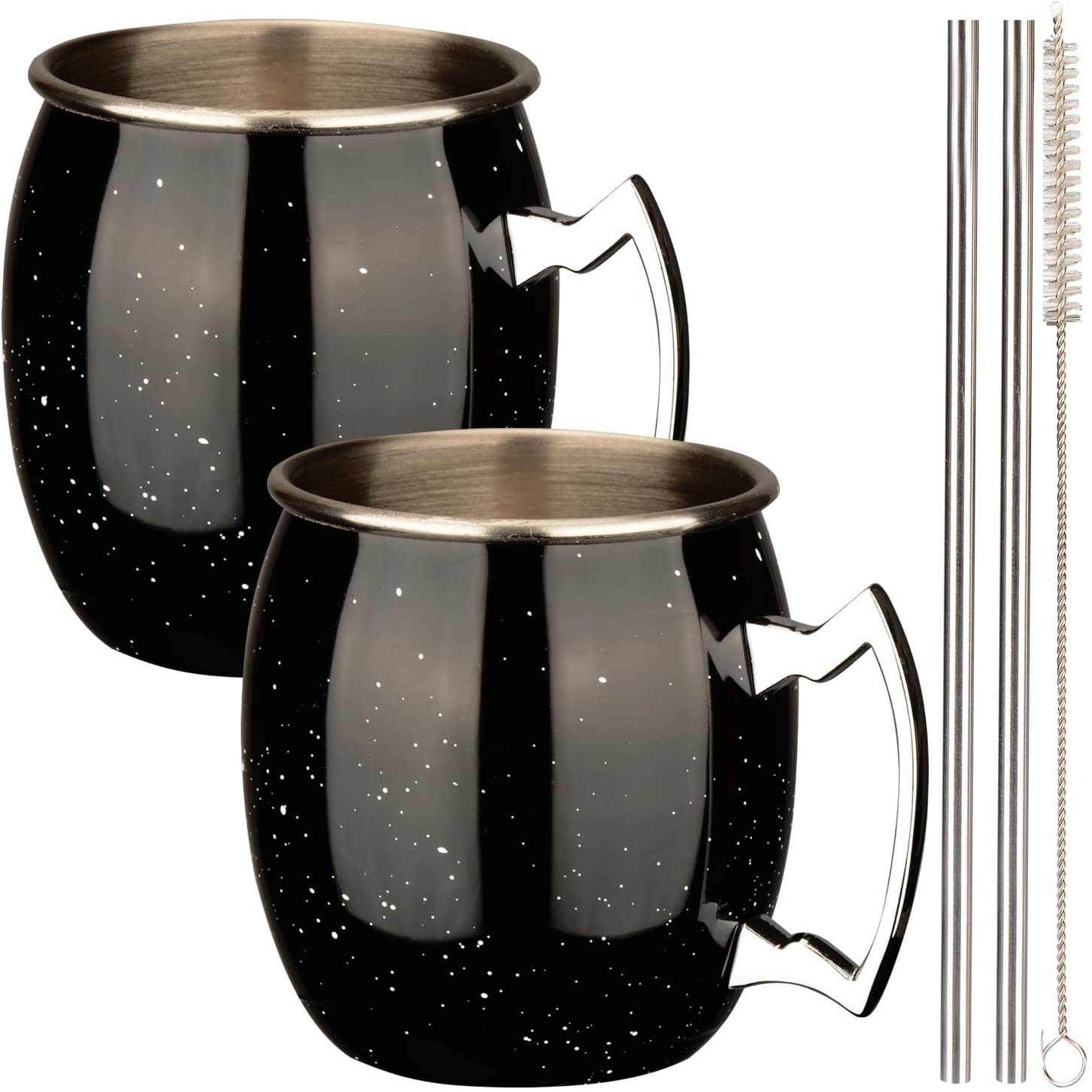 Ln Cocktail Mug Set of 2 for Moscow Mule 14oz 16oz Ounces Beer Wine Coffee Cup Starry Stainless Steel Anti-Rust for Home Party Office, Accessories: Metal Straws & Brush
