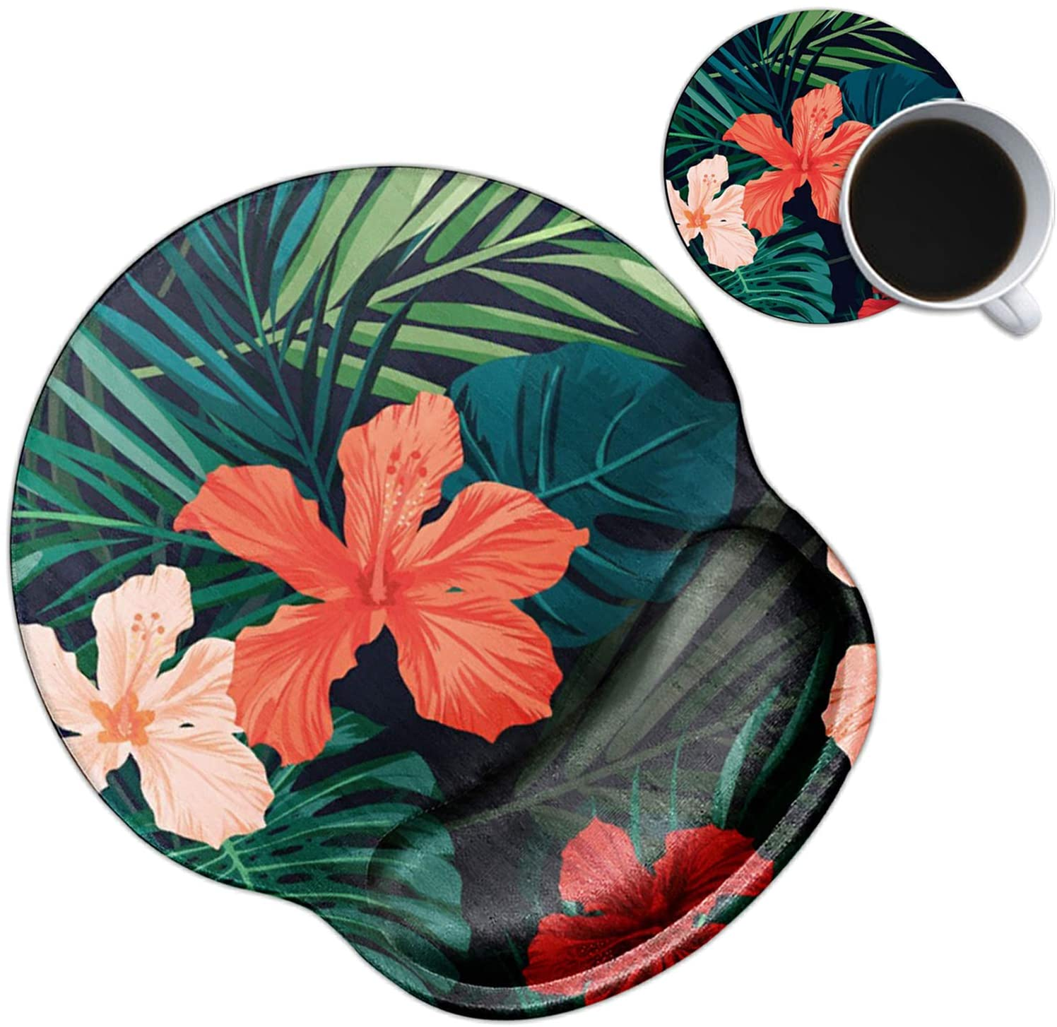 Dikoer Ergonomic Mouse Pad with Wrist Support Gel Mouse Pads with Wrist Rest, Non-Slip PU Base Mouse Mat for Laptop Internet Cafe Home Office & Cute Coasters(Tropical Flowers)