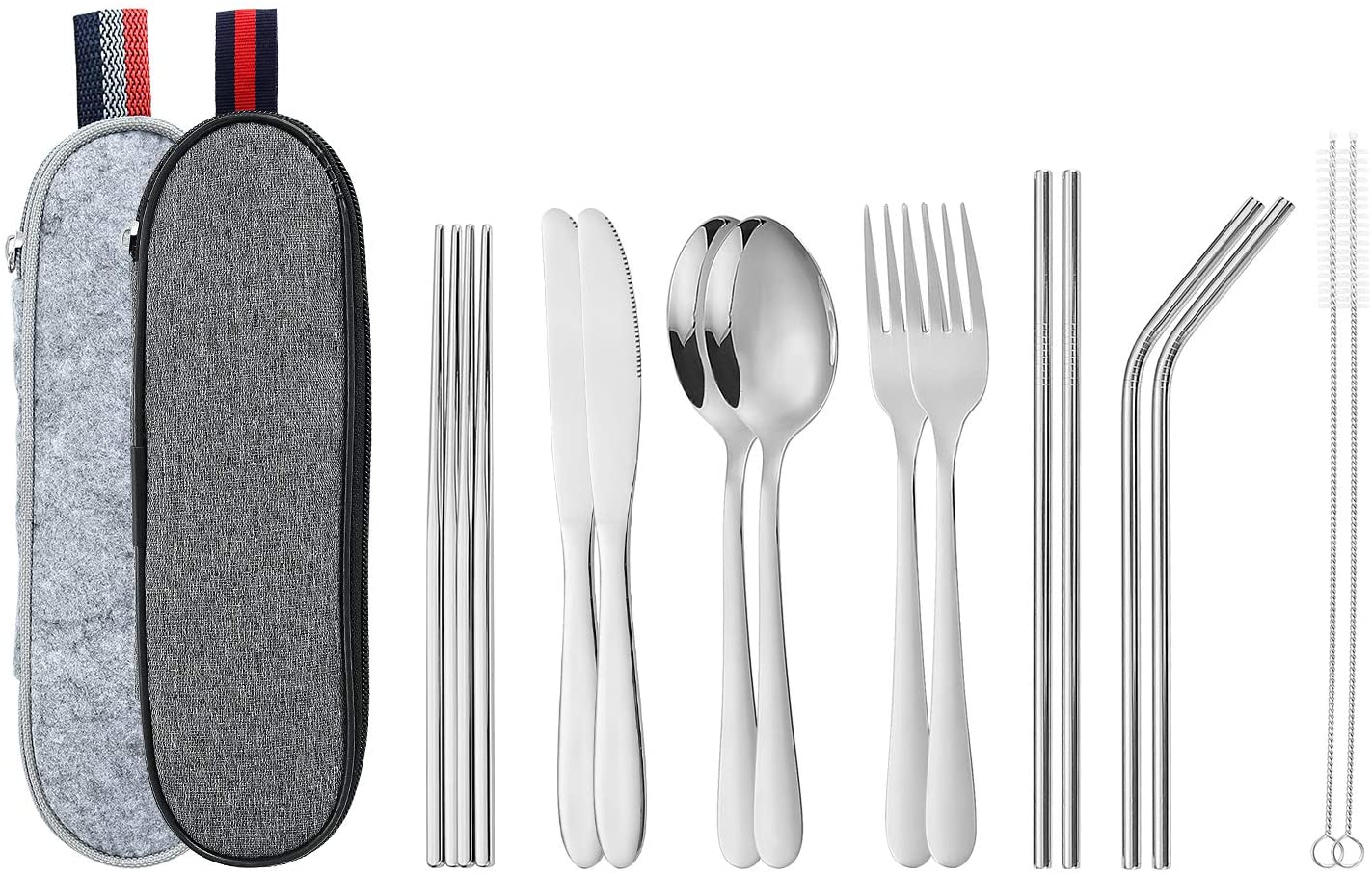 16 Pieces Portable Utensils, Travel Camping Cutlery Stainless Steel Flatware set, including Knife Fork Spoon Chopsticks Straws Cleaning Brush wigh 2 color Portable Case (2 Set Silver)