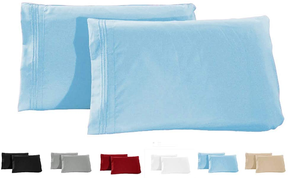 Miruxia Luxury Ultra-Soft 2-Piece Pillowcase Set,Double Brushed Microfiber 1800 Bedding,Wrinkle, Fade, Stain Resistant - Hypoallergenic (LightBlue, 20
