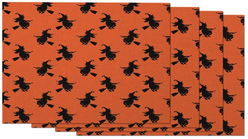 Moslion Halloween Placemats Abstract Creative Cute Funny Cat Witch Colorful Bright Picture Table Placemats for Dinning Table Washable Cotton Linen 12x18 Inch, Set of 4