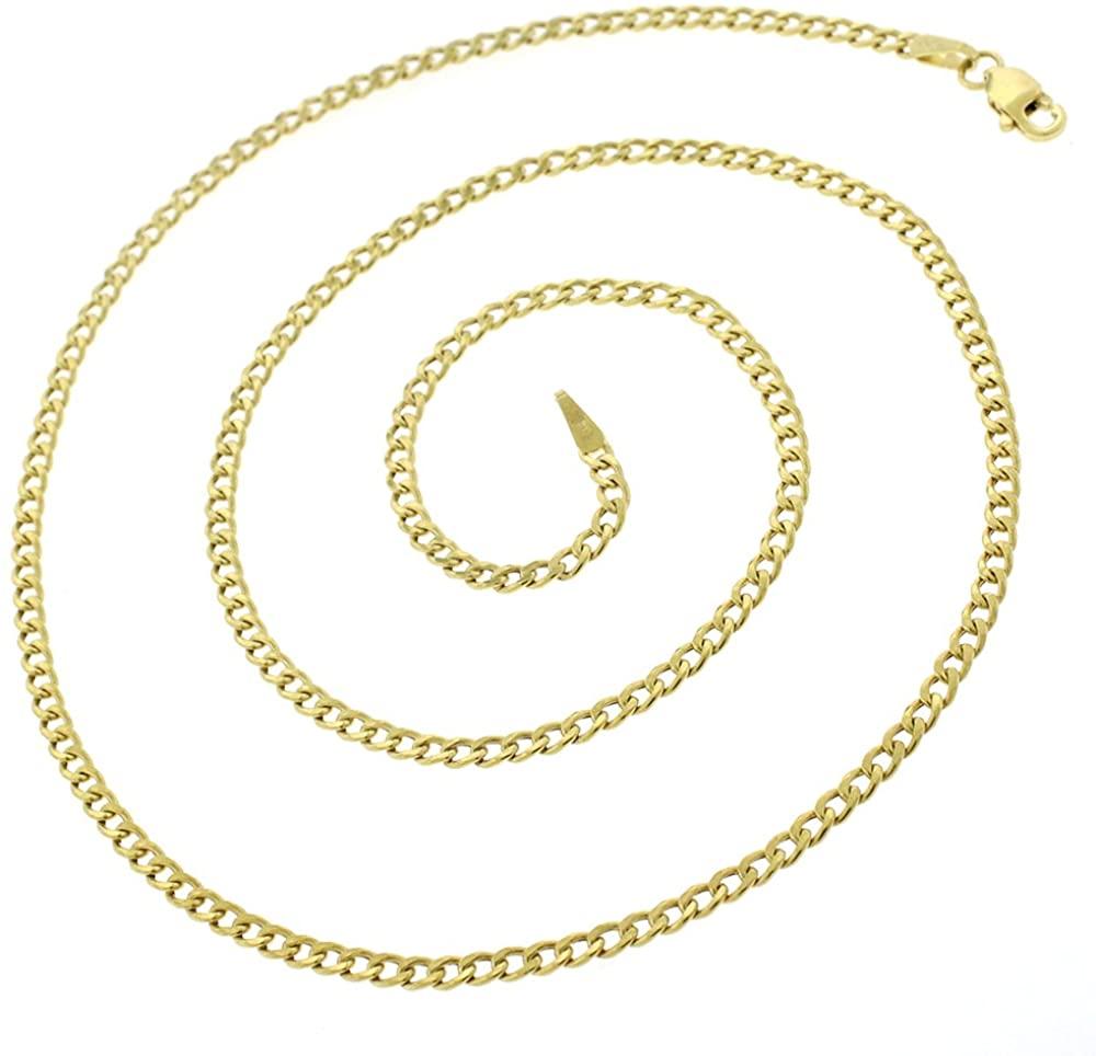 14K Yellow Gold 2mm - 9.5mm Hollow Cuban Chain, FREE Microfiber Cloth, Curb Link Necklace, Giorgio Bergamo