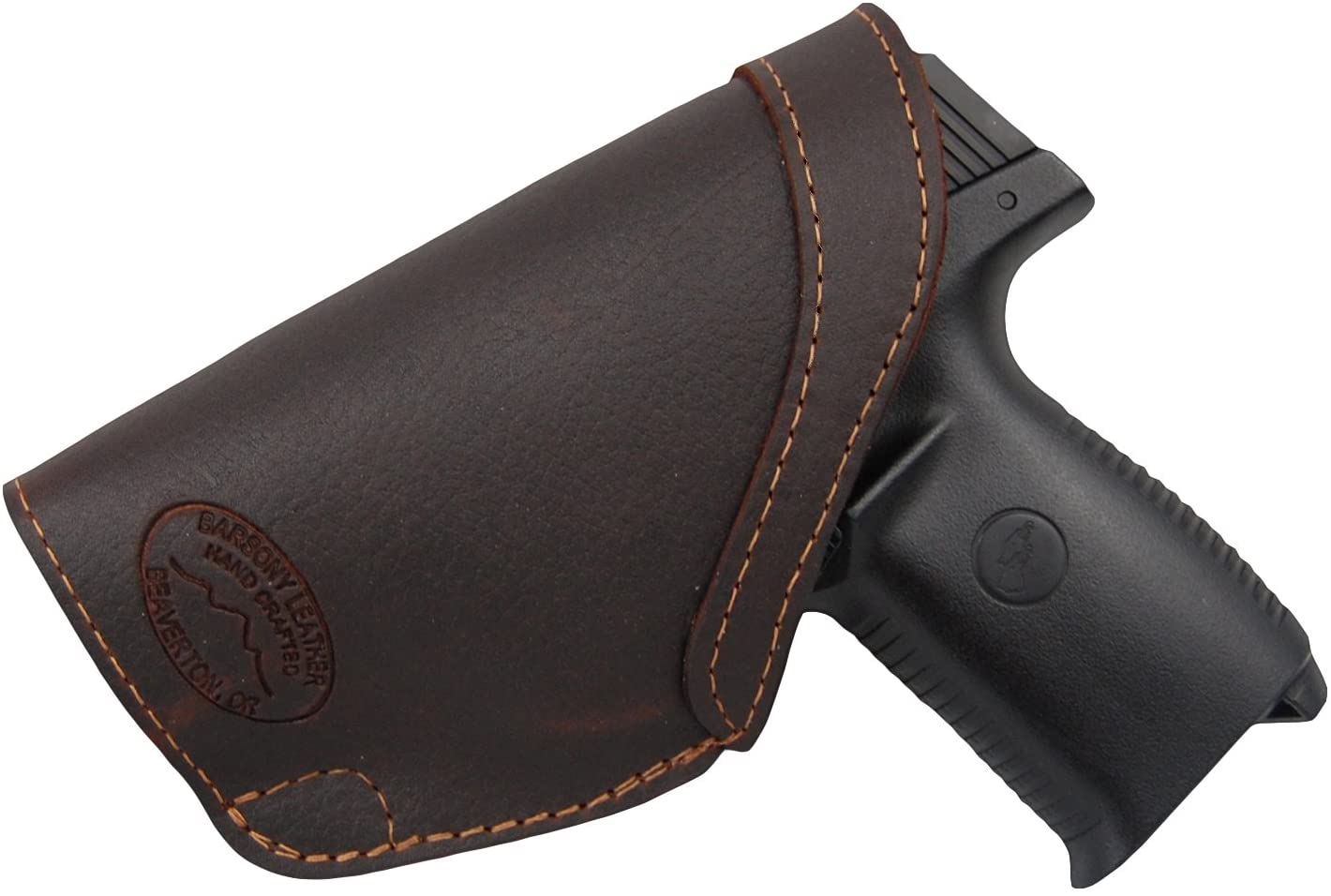 Barsony New Brown Leather Inside The Waistband Holster for Ruger SR9C and SR40C with Laser