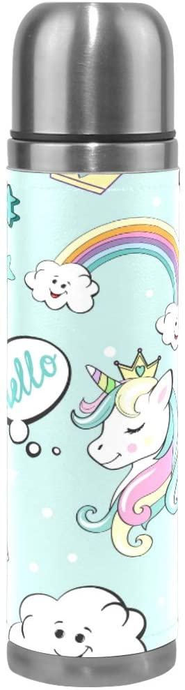 Unicorn Water Bottle Stainless Steel Double Wall Vacuum Insulated Thermos Cup Travel Coffee Mug Genuine Leather Cover Keep Drinks Hot and Cold 17 Oz