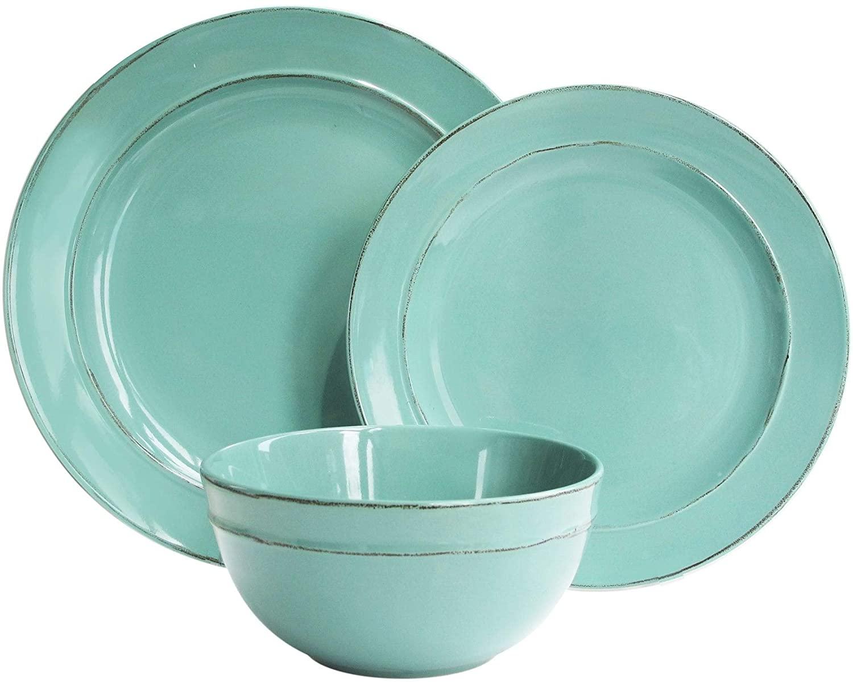 Seafoam 12 Pc Dinner Set Blue Solid Casual Round Porcelain Piece