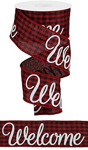 Gingham Welcome Canvas Wired Edge Ribbon, 2.5