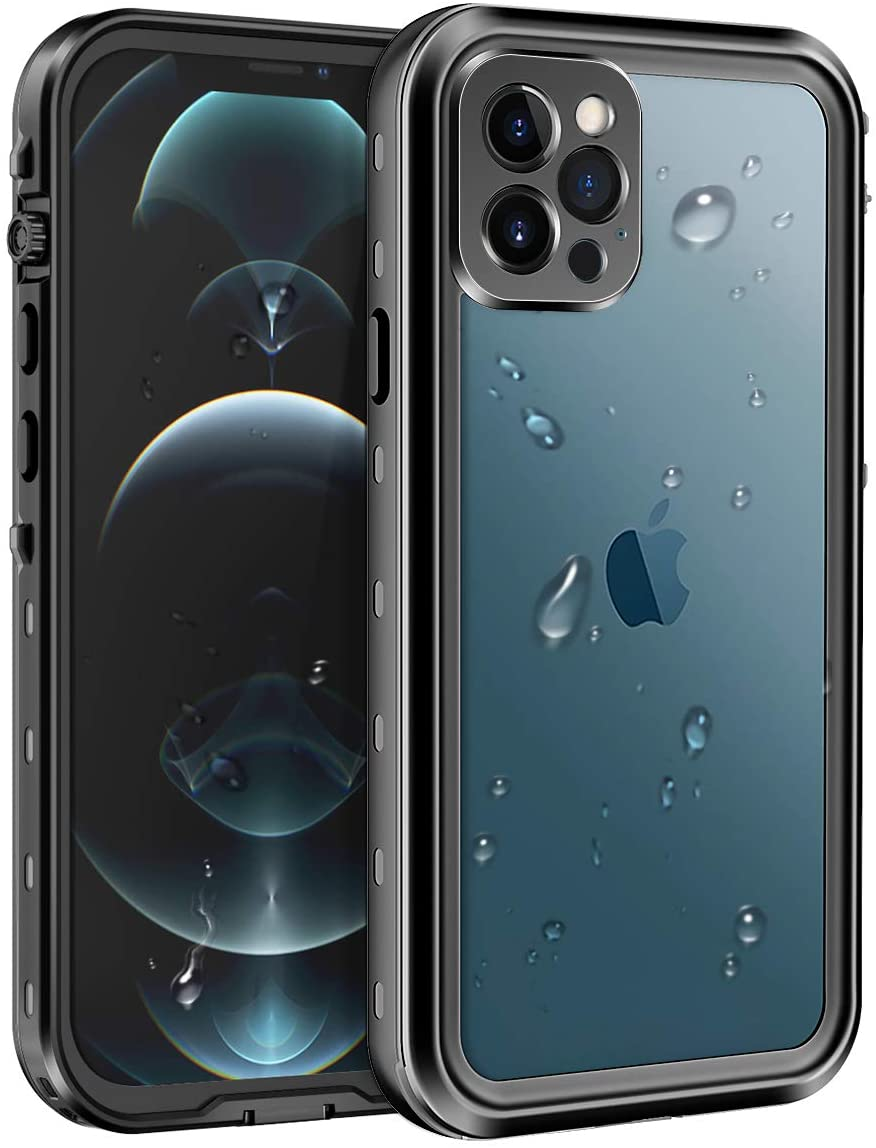 Lamcase Compatible with iPhone 12 Pro Max Waterproof Case, Built-in Screen Protector Full Body Protective Dust Proof Shockproof Cover Compatible with Apple iPhone 12 Pro Max 6.7 inch 2020, Black/Clear