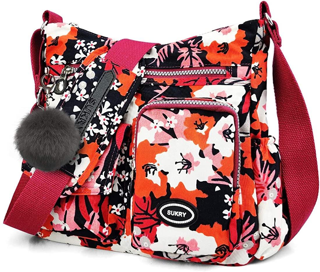 Nylon Crossbody Bag for Women with Anti-theft RFID Pocket, Water-resistant Shoulder Bag Travel Purses and Handbag