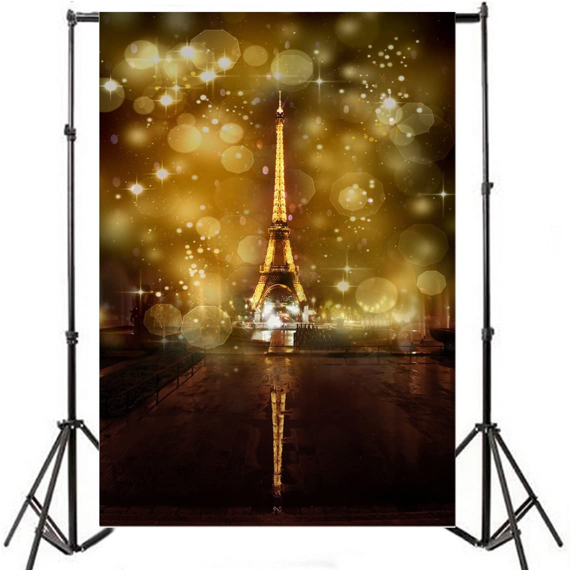 Yeele 5x7ft Romantic Eiffel Tower Photography Backdrop Vinyl French Landmark Paris Abstract Hazy Sequins Bokeh Glitter Photo Background Party Photo Booth Video Shoot Studio Props