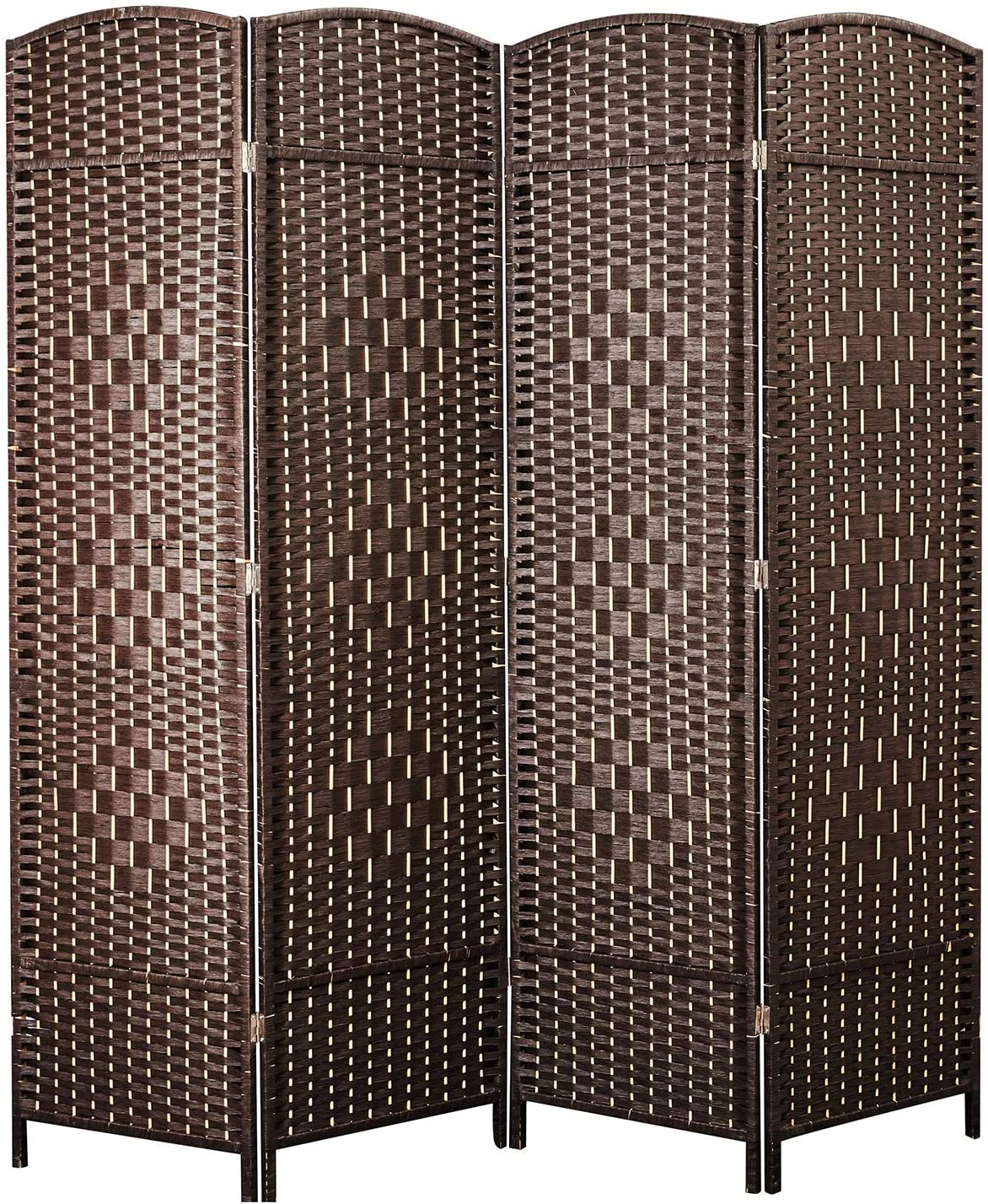 cocosica Weave Fiber Room Divider, Natural Fiber Folding Privacy Screen with Diamond Double-Weaved & 4 Panel Room Screen Divider Separator for Decorating Bedding, Dining, Study and Sitting Room